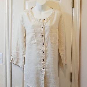 JM Collection Beige Linen Tunic